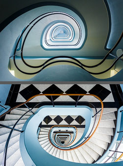 Staircase in the Den Bell high rise building in Antwerp, Belgium
