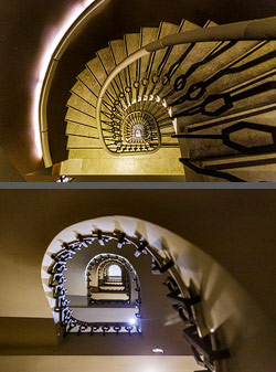 Staircase in the Wilson Boutique Hotel in Barcelona, Spain