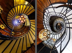 Staircase in the Cotton House Hotel in Barcelona, Spain