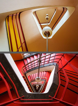 Staircase in the Haus des Rundfunks in Berlin, Germany