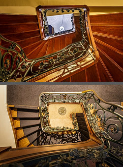 Staircase in the Monsieur Ernest Hotel in Bruges, Belgium