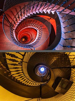 Staircase in the hotel Rum in Budapest, Hungary
