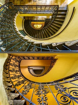 Staircase in a residential building in Budapest, Hungary