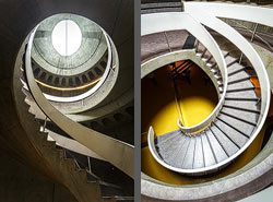 Staircase in the LUGDUNUM - Musée & Théâtres romains in Lyon, France