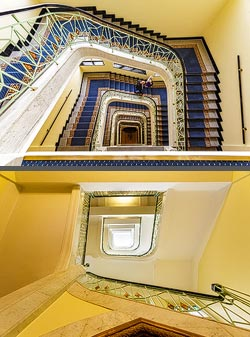 Staircase in the Art Deco Imperial hotel in Prague, Czech Republic